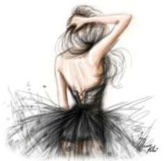 simple drawing of girl in dress - Google Search