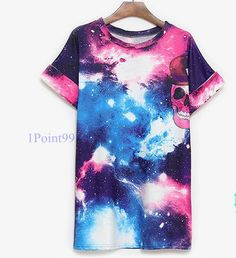 Galaxy Design With Skull Print T-Shirt [5124]    Length:76cm Chest:100cm Sleeves:21cm