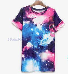 Galaxy Design With Skull Print T-Shirt [5124]    Length:76cm Chest:100cm Sleeves:21cm