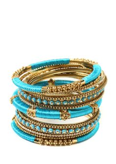Bangle Set, Turquoise by Amrita Singh at Last Call by Neiman Marcus. Bangle Set, Bracelet Set, Bangle Bracelets, Silk Thread Bangles, Gold Bangles, Thread Jewellery, Jewelry Accessories, Fashion Accessories, Diy Jewelry
