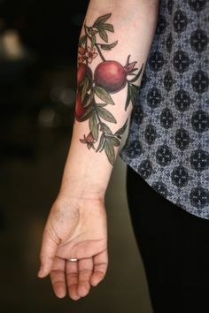Pomegranate tattoo by Alice Carrier inked on the right forearm Top Tattoos, Flower Tattoos, Body Art Tattoos, Sleeve Tattoos, Tatoos, Mini Tattoos, Botanisches Tattoo, Piercing Tattoo, Piercings