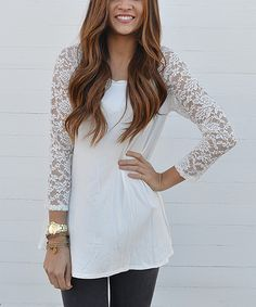 Another great find on #zulily! Cream Lace-Sleeve Tunic by Emerald #zulilyfinds