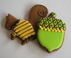 Squirrels in jumpers and crazy green acorns! What cookies could be cuter for a harvest celebration? Harvest Time, Fall Harvest, Autumn, Acorn Cookies, Squirrel Food, Pumpkin Patch Party, Greek Cookies, Cookie Recipes, Cookie Ideas