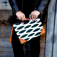 Black & White Large Canvas And Leather Oversized Clutch Bag