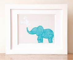 Playful Teal Elephant Graphic Art Print. $32.00, via Etsy.