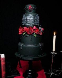 Ah, the Gothic wedding cake. If you survey gothic wedding cake, you will be the Talk of the Town. Gothic Wedding Cake, Gothic Cake, Vampire Wedding, Black Wedding Cakes, Red Wedding, Victorian Gothic Wedding, Gothic Glam, Medieval Wedding, Wedding Unique