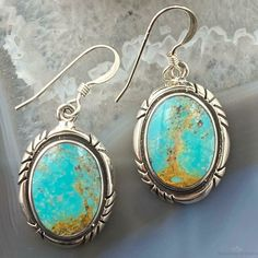 Sterling Silver Oval Turquoise Dangle Earrings For Women Southwestern Jewelry, Turquoise Jewelry, Women's Earrings, Dangles, Jewelry Design, Jewels, Sterling Silver, Stone, Metal