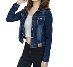 9052e573f5e Coolred Women s Long Sleeve Cowboy Jacket Solid Slim Fitted Moto Coat Dark  Blue M Slim Fit