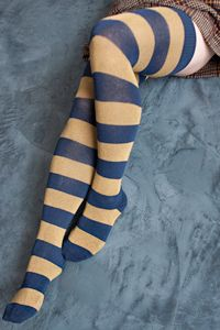 Extraordinary Striped Thigh High - If you've been dreaming of stripey thigh high socks that fit beautifully, then look no further!  These are almost magical, with their wide stripes in gorgeous colors; not to mention their great fit on legs of all sizes, short and slender to tall and curvy, as well as everything in between.  They're exclusive to Sock Dreams, and you won't find the likes of them anywhere else!  Made in the USA.