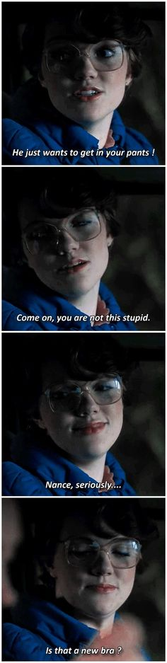"""Stranger Things: Barb, the gay friend with the loving eyes """"It'll probably be, like, a big orgy."""" #1x02 #barbara holland"""