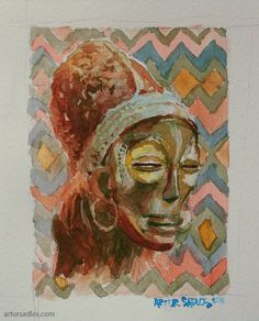 More #African goodies. And damn watercolors are thought.  #Conceptverse #Mooeti #watercolour #artursadlos #africa #museum #art #tribal #woman #portrait #mask #statue