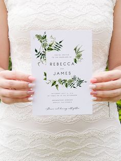 Greenery Wedding Invitation Template Fern Leaves Printable