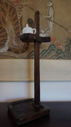 Very-Fine-Rare-Korean-Joseon-Dynasty-Wood-Oil-Lamp-Stand-with-Oil-Container