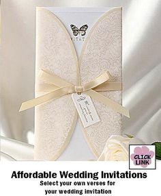 Affordable wedding invitations in butterfly pattern.  $89.95 per set of 50