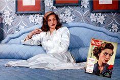 Lauren Bacall sur le tournage de «La femme modèle» en 1957. A droite, la couverture de Paris Match le 7 avril 1951.