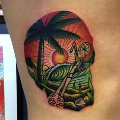 Paradise Skull by @samkanetattoo at Ocean Ink in Sydney Australia. #paradise #skull #palmtree #samkanetattoo #oceanink #sydney #australia #tattoo #tattoos #tattoosnob