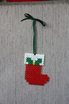 Christmas perler bead stocking- oh so sweet!