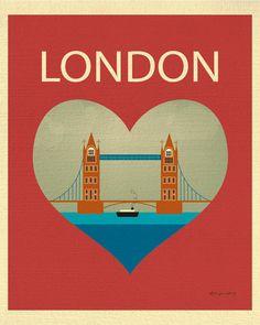 London Bridge and Heart - Travel Print Art - style E8-O-LON2