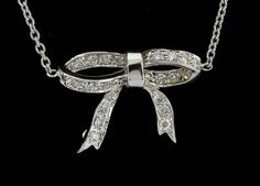 DESIGNER ROBERTO COIN 18K WHITE GOLD & DIAMOND BOW PENDANT W/ CHAIN #RobertoCoin #Pendant