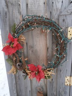 Barbed wire and horseshoe wreath