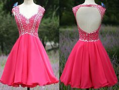 Red Homecoming Dress,Chiffon Homecoming Dresses,Short Prom Dress,Open Back Evening Dress,Sexy Prom Dress
