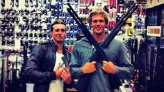 Controversial Australian swimmers Nick D'Arcy and Kenrick Monk have been slapped with a social media ban and will be sent home early from the Olympics as punishment for posting pictures of themselves toting firearms on Twitter and Facebook. The pair, who already have a checkered disciplinary record, posed for the pictures at a gun shop in the United States where members of the Australian Olympic swimming team had been training and competing in the lead-in to London.