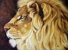 Lion Study watercolor pencil painting