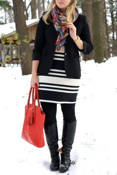 what to wear with a striped dress
