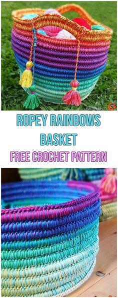Ropey Rainbows Basket Free Pattern #rainbow #crochet #crochetpattern #freepattern #rope #colour #colourful #baskets