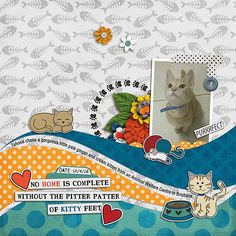 Monday's Highlight: Purrfect by Sharon Using April's Blog Challenge Template and .Kitties by Laura Banasiak and Pawsitively by Laura Banasiak