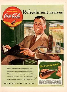 1941 Coca-Cola Original Coke on a Train Print Ad