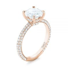 From the top view, an engagement ring might look like a solitaire or a classic design with diamond accents. Turn the ring to the side, and you may find a hidden halo! Engagement Rings Princess, Round Solitaire Engagement Ring, Cushion Cut Engagement Ring, Emerald Cut Wedding Band, Diamond Wedding Bands, Wedding Rings, Joseph, Rose Gold, Couple Rings