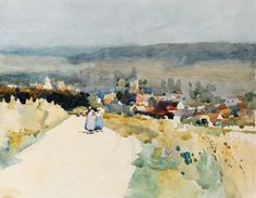 Two girls on the road near Gamaches, Nr. Abbeville by CHARLES JOHN WATSON - Julia Korner