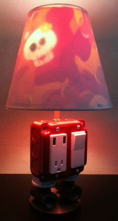 Lamp and USB Charger Combo with diy Skull Lampshade
