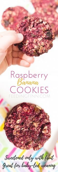 Raspberry banana cookies, made with 4 ingredients, are sweetened only with fruit. A perfect breakfast or snack for kids. Great for baby-led weaning (BLW)