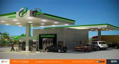 posto de gasolina 3d Suzano SP Retail Branding, Hydrogen Fuel, Filling Station, Canopies, Cafe Bar, Gas Station, Diesel, Garage, Behance