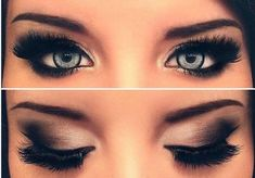 Gorgeous icy blue eyes with smokey eye makeup. Get long lashes like these at Beauty.com.