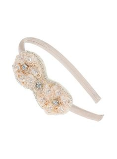 Beige Crystal Facet Bow Alice Band - accessories  - Wedding