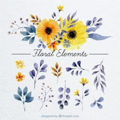 Floral elements in watercolor style Free Vector