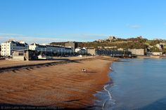 Panorama of the Beach and Seafront, Dover Harbour, Kent, England, United Kingdom.
