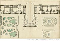 Plan of the ground floor, by Robert de Cotte, in 1685, showing the Chapelle Royale and the Opera which were not finished until after the death of Louis XIV.