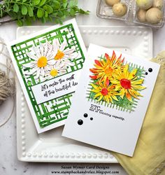 Susan Wymer Card Designs: End of Thinking Capacity and Daisies Impression Obsession Cards, Gold Watercolor, Yellow Daisies, Black Eyed Susan, Geometric Lines, Shades Of Green, I Card, Burlap, Daisy