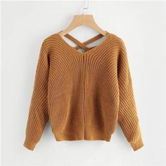 5065b79fb1 COLROVIE Pink Criss Cross V Back Chunky Knitted Casual Women Sweater 2018  Autumn Solid Khaki Sweater Grey Pullovers Jumper