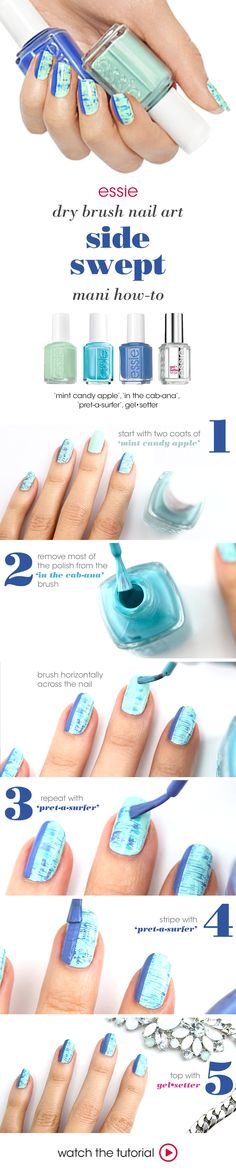 oceanic shades of blue and mint make for nail art that's one part calm seas, one part stormy waters.