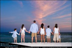 family photo on the beachheads white shirts and bare feet. Get white hoodies in case it is cold.