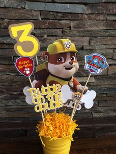 Cute PAW Patrol Rubble birthday party centerpiece idea