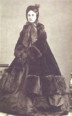 winter clothes of late 19th century on Carlota, Empress consort of Mexico, born Charlotte of Belgium