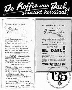 Oude advertenties, met de hand ontworpen door mevrouw Blanche Dael Journal, Journals