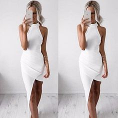 ❥ Life isn't perfect but your outfit can be.❥ ≫∙∙White Bodycon Sexy Sleeveless Halter Evening Party Club Dress ∙≪#Sexy#Party #Club #Fashion #Wedding #Prom #H