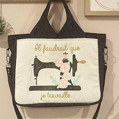 Sac Foxtrot noir et blanc illustré cousu par Vanessa - Patron Sacôtin